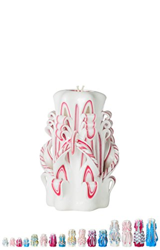 Ner Mitzvah Handmade Carved Havdalah Candle - Self Standing, Hand Crafted - Shabbat Host, Hostess and Judaica Gift - White Flame - 6'