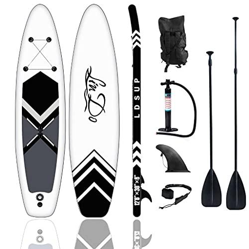 JATO SUP - Juego de tabla de surf de remo, 130 kg, color negro y blanco, 320 x 76 x 15 cm