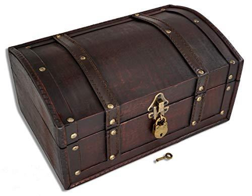 Brynnberg schatkist 30 x 20 x 16 cm - grote schatkist plat, bruin met klinknagels en lederen riemen versierd, met deksel, met slot, piratenkist afsluitbaar, opbergdoos hout