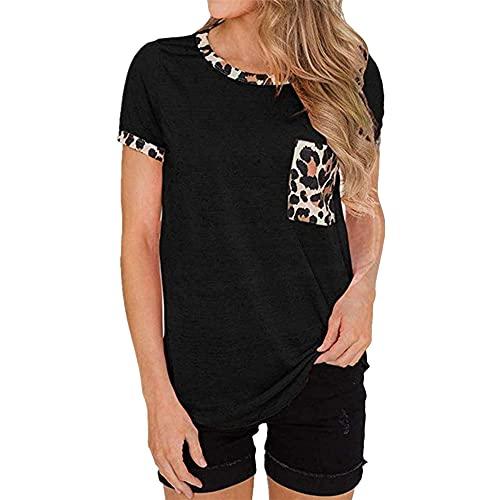 Camiseta con Nudo Torcido para Mujer Blusa Estampada de Manga Corta Patchwork Tops Casuales Redondo Tops de Camisa Rayas de Leopardo Bolsillo con Cuello en Contraste Artesanía Camiseta de Manga Corta