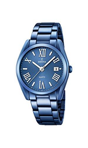 Festina F16864/3 - Reloj de Pulsera analógico para Hombre (Mecanismo de Cuarzo, Esfera Azul y Correa chapada en Acero Inoxidable Azul)