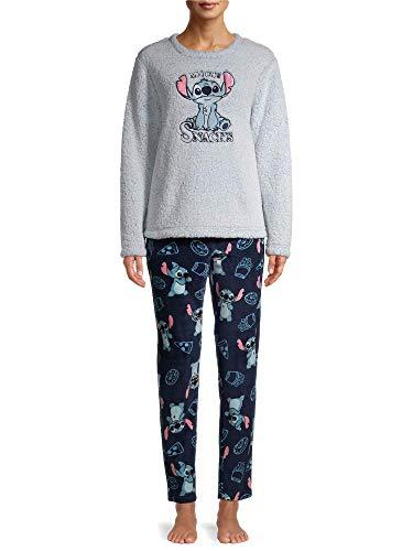 Womens Lilo & Stitch 'More Snacks' Plush Pajamas Pajama Set (Small 4/6)