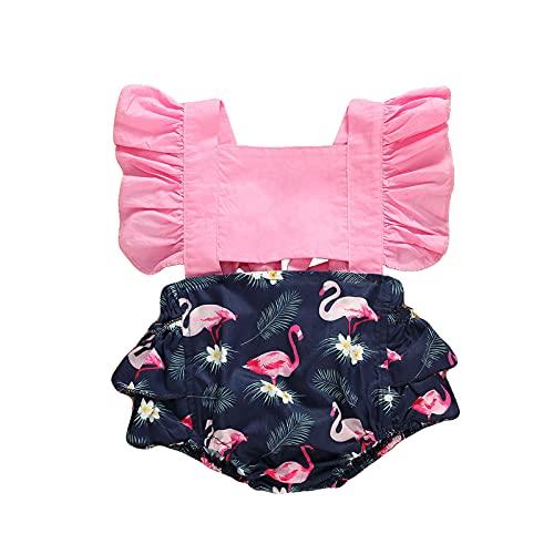 ChouZZ Mameluco de verano para recién nacidos, 1 pieza de manga corta con volantes, diseño de flamenco, color limón