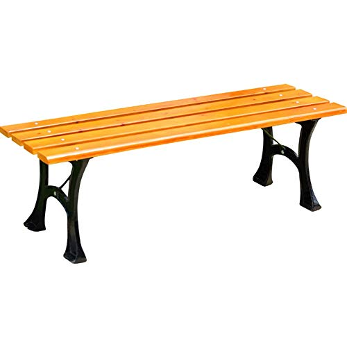 UWY Garden Terrace Bench Outdoor Bench,Cast Iron Frame Leisure Park Bench,Solid Wood Dining Table Benches With Slatted Seats,Backyard/balcony Halter Bench