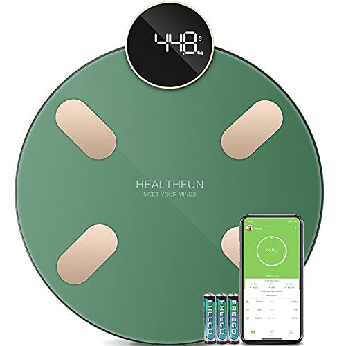 Báscula de Baño, Báscula Grasa Corporal de Alta Precisión, Báscula Inteligente Analizar Más de 13 Funciones, Monitores de Composición Corporal Máximo 180 kg para Andriod y iOS, Pantalla LCD, Verde