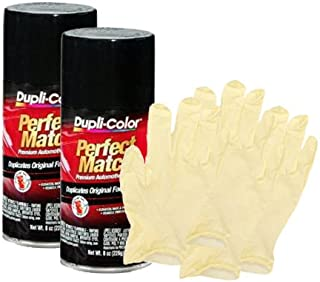 Dupli-Color Universal Gloss Black Exact-Match Automotive Paint (8 oz) Bundle with Latex Gloves (6 Items)