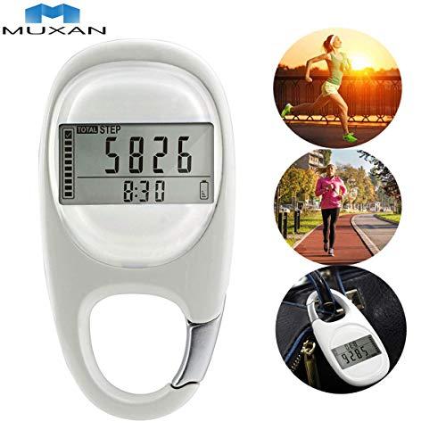 Muxan 3D-Schrittzähler, Fitness-Tracker, genauer Schrittzähler, Aktivitäts-Tracker, Kalorienverbrauch, Schrittzähler, Digitale Tasche für Frauen