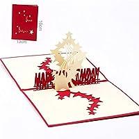 NN 空紙の招待状のグリーティングカードはがき幸せな誕生日パーティーキッズクリエイティブな贈り物の3Dレーザーカット手作りの彫刻星 (Color : Red cover)