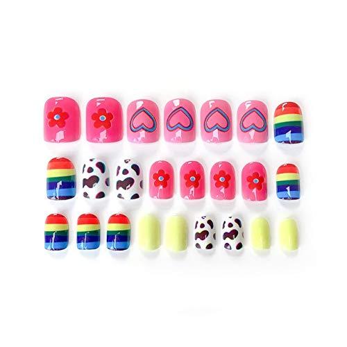 DKHF Valse nagels 24 stuks mode schattige meisjes acryl regenboog bloem nep nagels tips bloempatroon versierd voor uv nail art accessoires kit