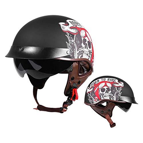 Casco retro de motocicleta Jet de cara abierta, para hombres y mujeres, gorra de motocicleta para adultos, medio casco, aprobado por el DOT con visera solar para motociclista, chopper, crucero