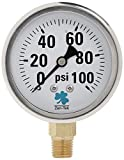 Zenport LPG100 Zen-Tek Glycerin Liquid Filled Pressure Gauge, 100 PSI