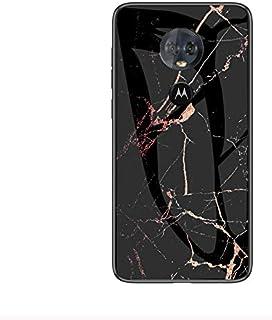 حافظة لهواتف موتورولا موتو G6 بنمط رخامي من الزجاج المغري - اسود وبرتقالي
