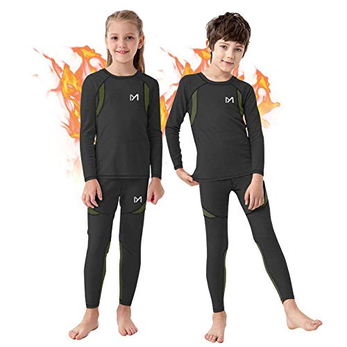 Boy's Thermal Underwear Set, Ultra Soft Fleece Lined Compression Base Layer, Winter Active Long Johns for Kids 8-16 Years (Black, Medium)