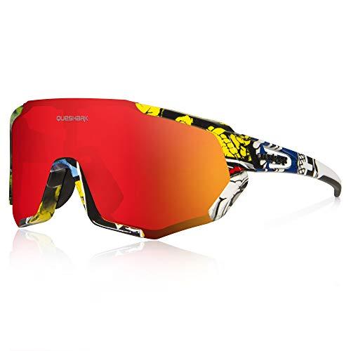 Queshark Occhiali da Ciclismo Polarizzati per Ccchiali TR90 con Montatura per Uomo Donna con 3 Lenti Intercambiabili Anti-UV400