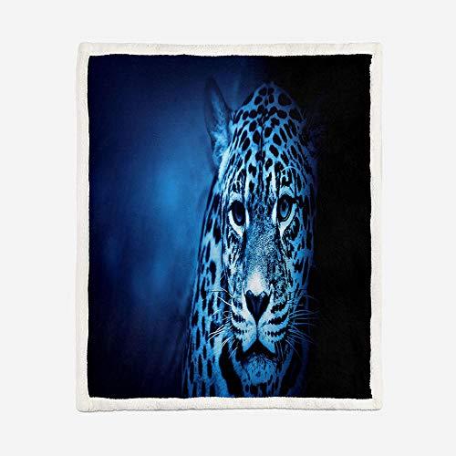 AHKGGM Manta de Franela en Microfibra, Extra Suave Acogedora y Cálida Manta 3D Impresa Leopardo Animal Azul Cubierta de Cama Mantas de Sofa/Cama para Adultos y Niños 130x150cm