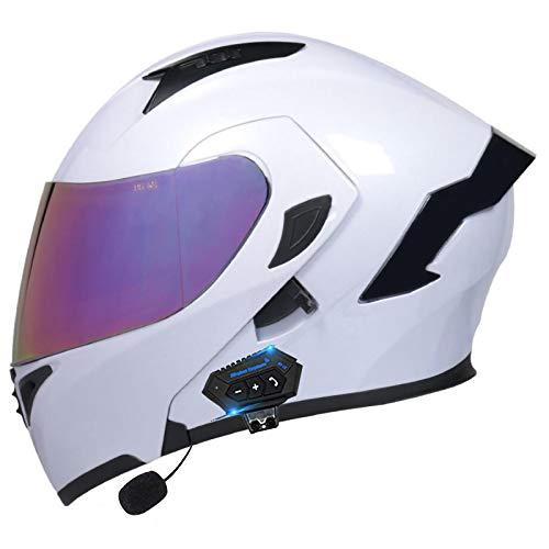 Bluetooth De Motocicleta Casco,Modular De Doble Visera Cascos Integrales ECE Certificado Casco para Motocicleta Bicicleta Scooter Cascos Adultos Unisex Abatible Casco D,L