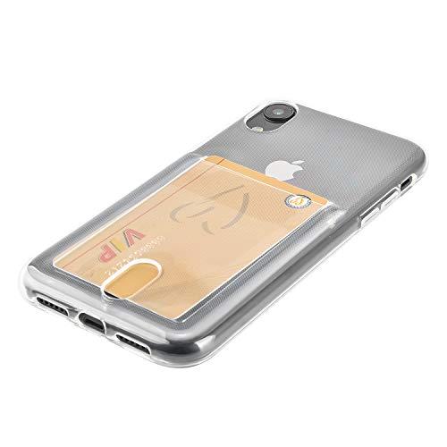 Wormcase ® Kunststoffhülle mit Kartenfach kompatibel für das Appel iPhone XR - Transparent - TPU Schale Back-Cover Schutz-Tasche Kratzfest Stoßfest Bumper Crystal-Clear dünn leicht schmal