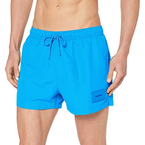 Calvin Klein Herren Short Drawstring Badehose, Blau (Ibiza Blue 439), Small (Herstellergröße: S)