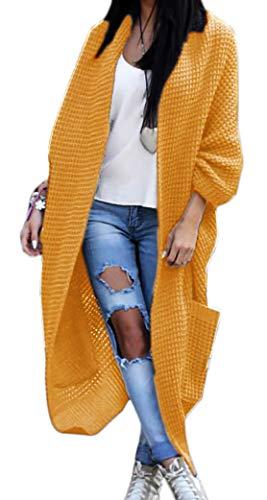 Damen Strickjacke Pullover Pulli Jacke Oversize Boho Frühling Cardigan Lose Oberteil Damen Lang Mantel Jacke Cardigan Blazer S M L XL (629) (Einheitsgrösse, Curry)