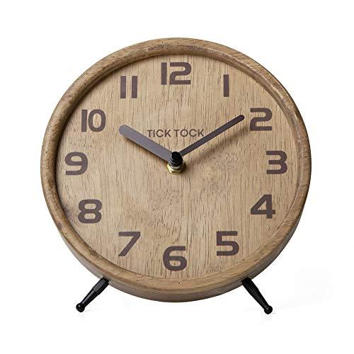 NIKKY HOME Stumme Holztischuhr, Wohnzimmer Schlafzimmer Wohnkultur Kein Ticking 18 x 16 x 18 cm