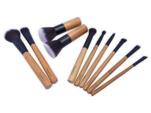 Flawless Lot de pinceaux de maquillage professionnel, Lot de 10, végétalien et cruauté gratuit, ECO Friendly Bambou Poignées