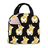 NiYoung Fashion Insulated Lunch Box, Portable Cooler Bag, Reusable Lunch Tote Bag for Women, Adult, Students and Kids - Corgi Puppy Dog Retro Style Butt Black