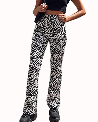 Damen Zebra-Hose, gerade, lässig, Jogginghose, Wanderhose M Black and White
