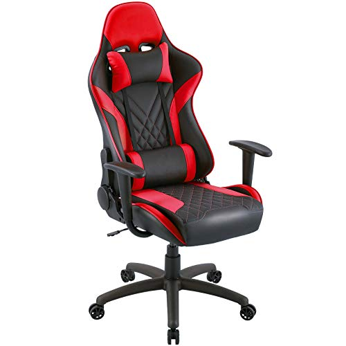 Eureka Ergonomic Video Gaming Chair Office Chair High Back Leather Chair Racing Executive Ergonomic Adjustable Swivel Chair with Headrest and Lumbar Support for Teens and Adult, Black & Red