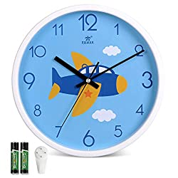 Tilted Kids Wall Clock Silent Non-Ticking, 11 Inch, Quartz Movement, Battery Operated, Modern Analog Wall Clock Nursery for Toddler Girls and Boys' Room by Laigoo