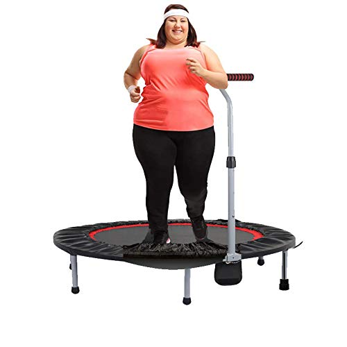 POEO Fitness Trampoline, Rebounder Trampoline Folding Function with Bar, Best Home Gym for Fitness Lose Weight with Adjustable Handles, Small Gym Trampoline for Indoor Fitness
