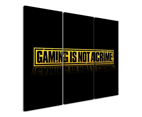 Diseño de 3 teilig Gaming_is_Not_a_Crime_ 3 x 90 x 40 cm (total de 120 x 90 cm) con diseño de arte palästinenser _execution en lienzo DE como Cuadro en bastidor