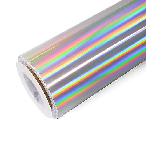 Holographic Chrome Craft Adhesive Vinyl Roll Holographic Spectrum Silver Rainbow Vinyl 1x5ft with Cameo and Cutters for Decoration
