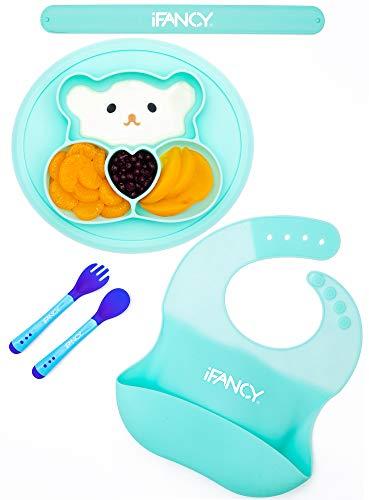 Baby-Tischset BÄRCHEN Blau: Baby-Teller + Lätzchen + Baby-Besteck mit Wärmesensor + Tragegurt - Rutschfest Sicher BPA-frei - Silikonmatte für Baby + Kleinkind - Babygeschirr Mikrowelle Spülmaschine