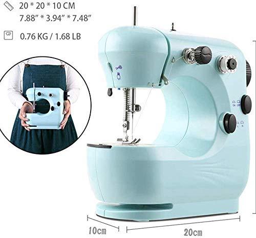 SEESEE.U - Máquina de coser portátil, color azul claro, mini máquina de coser para principiantes, fácil de usar 2 velocidades, máquina de coser de bordar, de alta resistencia, operación a pie