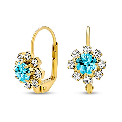 Teal Blue And White Crystal Flower 18K Gold Plated Brass Leverback Drop Earrings For Women Simulated Aquamarine