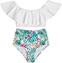 Milumia Girl's 2PCS Swimsuit Ruffle Off Shoulder Crop Top Tropical Print Panty Bikini Set White Tropical 11-12 Years
