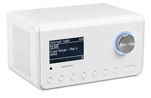 MEDION P85105 MD 87505 WLAN Internet-Radio, DAB+, UKW, WLAN, DLNA, UPNP, 2 x 10W RMS, USB-Anschluss, weiß