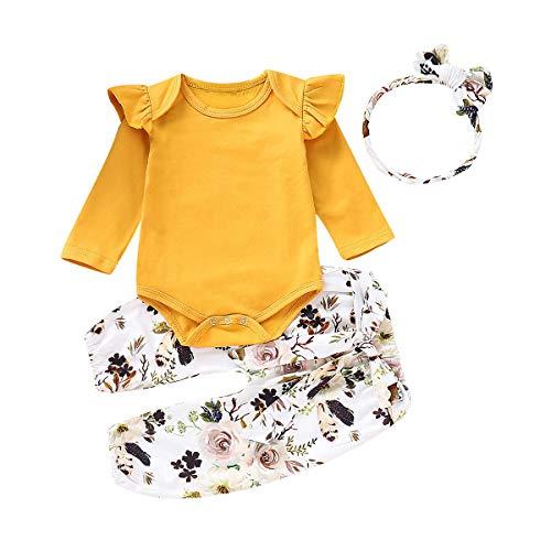 Borlai - Mono - para bebé niña (Amarillo, 0-3 Meses)