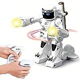 Linbing666 Kinder-Fernbedienung Roboter-Spielzeug, 2,4 GHZ somatosensorischen Ferncontro Kampf gegen Roboter, mit Beleuchtung und Sound-Effekten, Für Kinder Unterhaltung,Weiß