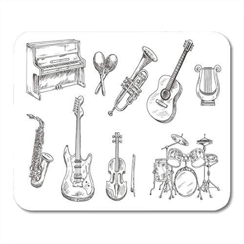 Mausunterlage,Gaming Mauspad,Spiel Maus Pad,Mausmatte,Schlagzeug Und Klavier Saxophon Akustische E-Gitarren Violine Trompete Matte Mäuse Mousepad Für Office Home Laptop Computer Pc