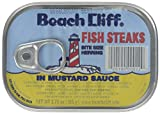 BEACH CLIFF Fish Steaks Bite Size Herring In Mustard Sauce, 3.75 Ounce Cans (Case of 18), Wild Caught Herring, Canned Herring, High Protein, Keto Food, Keto Snack, Gluten Free, Paleo Food, Canned Food