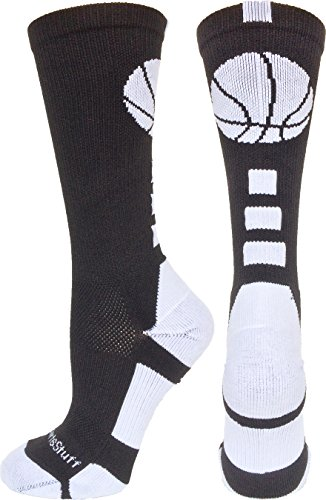 MadSportsStuff Basketball Logo Athletic Crew Socks, Small - Black/White