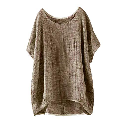 YEBIRAL Mujeres Casual Tallas Grandes Camiseta Camisa Manga Corta Suelto Casual Redondo Cuello Color Sólido Túnica Tops de Verano Blusas(3XL,Marrón