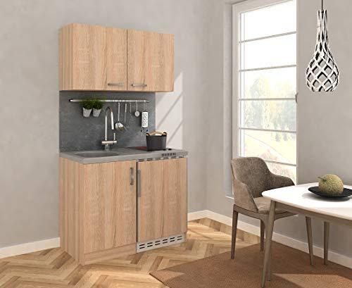 respekta Miniküche Küche Küchenzeile Pantry Küchenblock 100 cm Eiche Sägerau