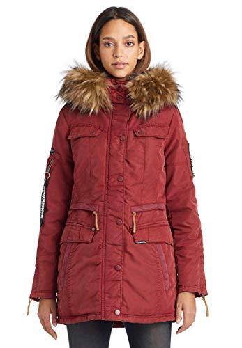khujo Damen Winterjacke Vicenza mit abnehmbarem Kunstfell Parka mit vielen Taschen (Red, M)