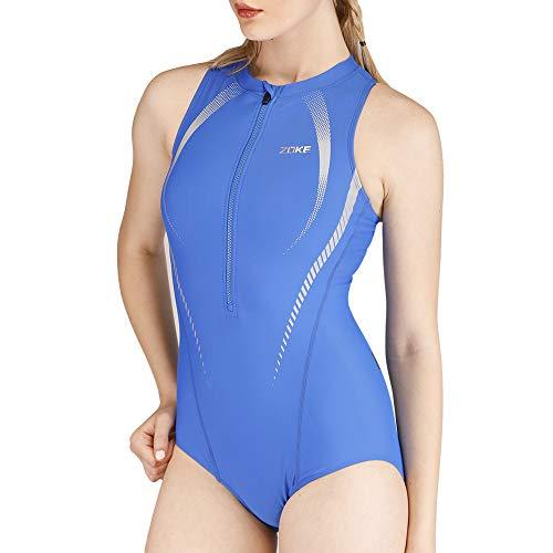 karrack Women's One Piece Swimsuit Sport Pro Training Bathing Suit Sleeveless Swimwear Swimming Suit (Blue, XS(Bust32''-34''))