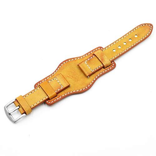 HNGM Correa Reloj Cuero Correa 20 mm 22 mm 24 mm de Plata con Hebilla de Acero Inoxidable Vintage Correa de Cuero (Band Color : Yellow)