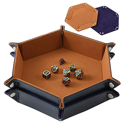 Highway 2 Pcs Portable Folding Dice Rolling Tray Set for RPG DND Table Games - PU Leather and Velvet Holder Storage Box - Blue and Camel