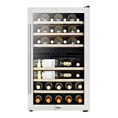Baridi 43 Bottle Dual Zone Wine Cooler, Fridge, Touch Screen Controls, LED - Stainless Steel/Black