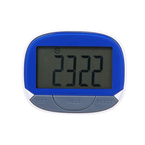 Multifunctionele stappenteller, 3D-stappenteller met clip voor fitnesstracker voor het volgen van stappen, loopafstand en calorieën, draagbare fitnessmonitor met horloge-functie blauw